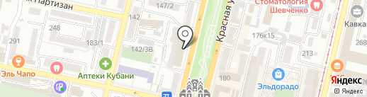 Супермаркет на Красной на карте Краснодара