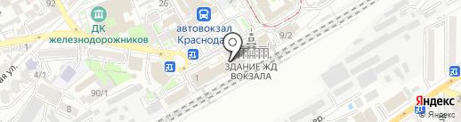 Справочное пригородное сообщение ст. Краснодар-1 на карте Краснодара