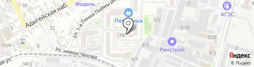 Жирафик на карте Краснодара