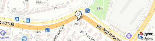 Автомойка на Матросова на карте Воронежа