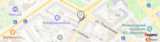 Тарелка на карте Воронежа
