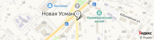 Киоск по продаже хлебобулочных изделий на карте Новой Усмани