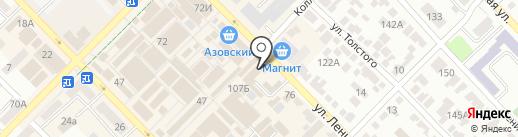 Ростовская областная станция по борьбе с болезнями животных с противоэпизоотическим отрядом на карте Азова