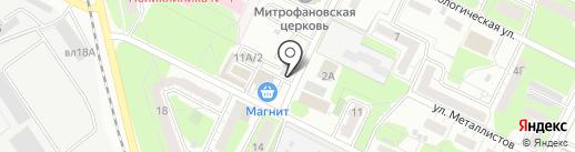 Киоск по продаже хлебобулочных изделий на карте Липецка