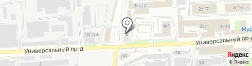 Магазин продуктов на Универсальном проезде на карте Липецка