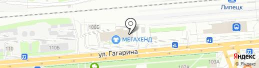 Гагаринский на карте Липецка