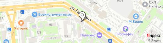 Сатин на карте Липецка