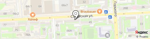 Турист на карте Липецка