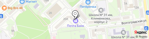 Почтовое отделение №6 на карте Липецка