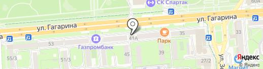 Гагарин на карте Липецка