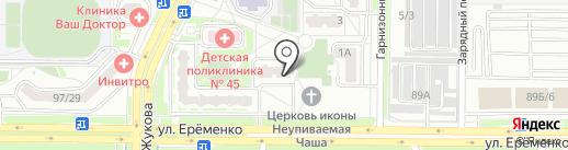 Силуэт на карте Ростова-на-Дону