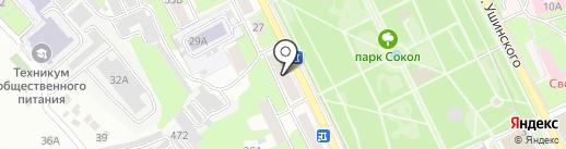 Пава на карте Липецка