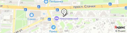 Управление пенсионного фонда России в Железнодорожном районе на карте Ростова-на-Дону