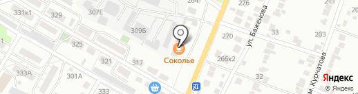 Соколье на карте Липецка