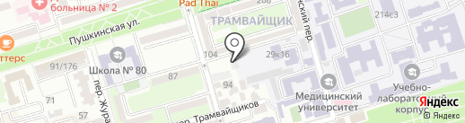 Крепостной 100 на карте Ростова-на-Дону