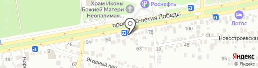 Сеть киосков по продаже воды на карте Ростова-на-Дону