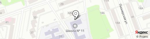 Средняя общеобразовательная школа №11 на карте Северодвинска