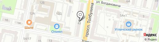 Медведь на карте Ярославля