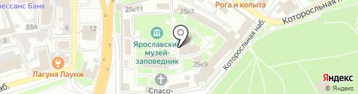 Церковь Ярославских чудотворцев XIX века на карте Ярославля