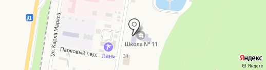 Средняя общеобразовательная школа №11, МБОУ на карте Каменномостского