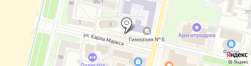 Юник на карте Архангельска