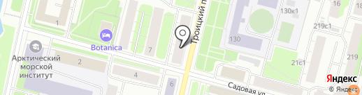 Монпарель на карте Архангельска