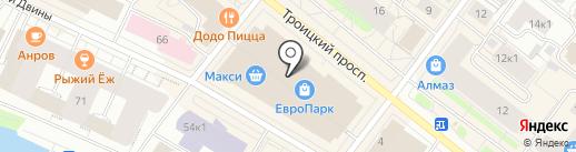 Ленточный лабиринт на карте Архангельска