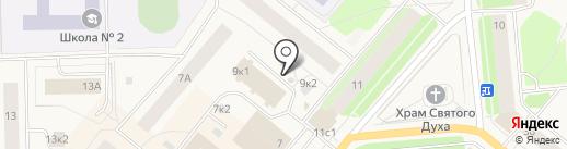 Киоск фастфудной продукции на карте Новодвинска