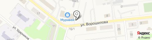 Автостоянка на Ворошилова на карте Новодвинска