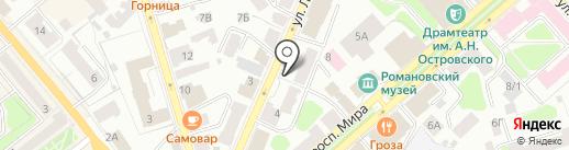 Росток на карте Костромы
