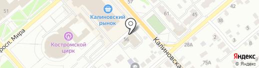 Гренка на карте Костромы