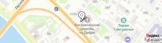 Церковь Воскресенья на Дебре на карте Костромы