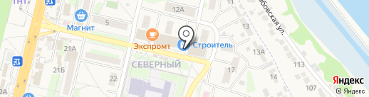 Магазин сантехники и люстр на карте Строителя