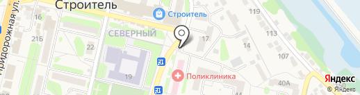 Киоск по продаже фастфудной продукции на карте Строителя