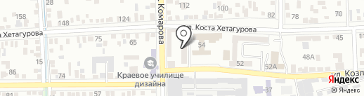 Каштан на карте Пятигорска