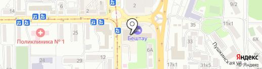 Бештау на карте Пятигорска