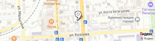Энжел на карте Пятигорска