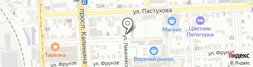 Лапа на карте Пятигорска