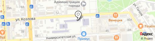 Средняя общеобразовательная школа №6 на карте Пятигорска