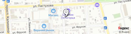 Магазин лакокрасочных материалов на карте Пятигорска