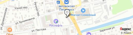 Золотой глобус путешествий КМВ на карте Пятигорска