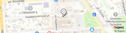 Диван на карте Пятигорска