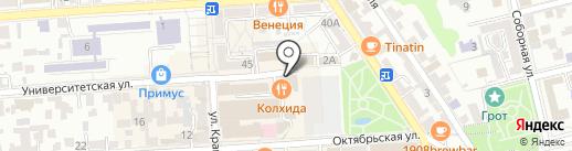 Мир КМВ на карте Пятигорска
