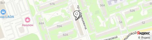 Церковная лавка на ул. Терешковой на карте Дзержинска