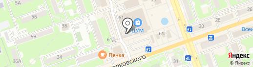Золотой компас на карте Дзержинска