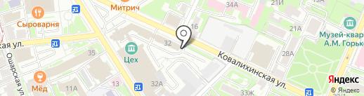 Автостоянка на карте Нижнего Новгорода