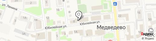 Уголок рыбака на карте Медведево