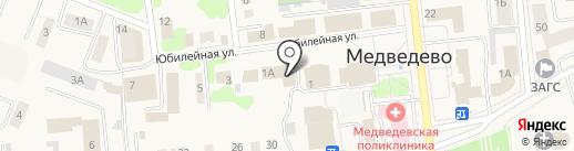 Магазин окон, дверей и бытовой химии на карте Медведево
