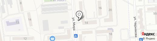 Мирный на карте Медведево