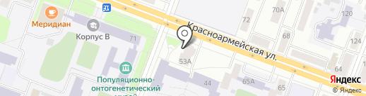 Красная машина на карте Йошкар-Олы